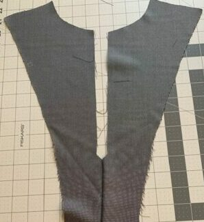 """The front panel with the seam created after taking in the 1/2""""."""